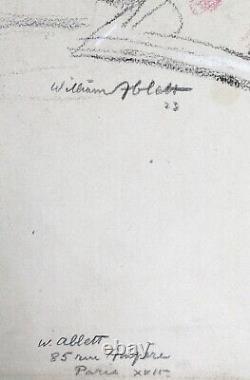 Dessin Original Art Déco William Ablett Portrait Femme Nue Lecture Vente Atelier