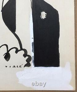 Dessin Original Encre Albert Vialé Portrait Couple Femme Homme Monocle 1930s