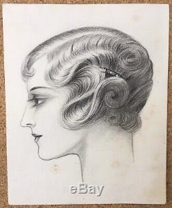 Dessin Original Portrait Femme Coiffure Luc Lafnet Claude Art Déco 1930s Belge