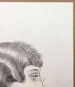 Dessin Original Portrait Femme Coiffure Mode Art Déco Luc Lafnet Belge 1930s