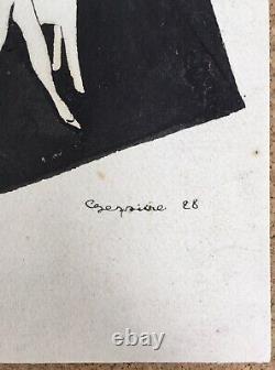 Dessin Original Portrait Femme Élégante Cocktail Art Déco Années Folles 1928