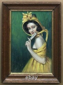 Dessin Pastel Art Déco Gustave Brisgand Portrait Femme Robe Jaune Eventail 1910s