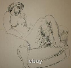 Dessin à l' encre années 30 Femme nue au fauteuil signé Nicolas. Daté 1937
