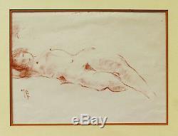 Dessin de sculpteur jeune femme nue allongée sanguine tableau art déco modèle