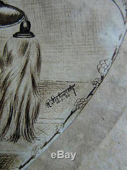 Dessin-encre De Chine-art Deco 1920-r. Labarthe-jeune Femme-illustrateur-chien