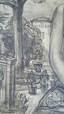 Dessin fusain original ALBERT DECARIS (1901-1988) Profil femme Art Deco