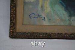 Dessin portrait femme original pastel art déco 1930 signé Fortuney carnaval