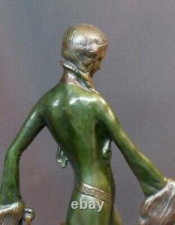 E 1930 Otto POERTZEL femme aux barzoïs art déco statue sculpture bronze 9,5kg40c