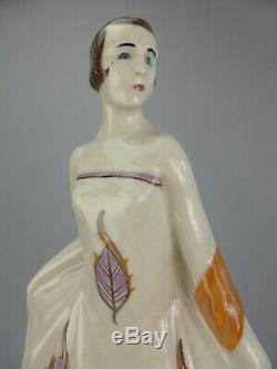 Elegante Figurine Statue Femme Art Deco Ceramique Craquelee Signe Baucour