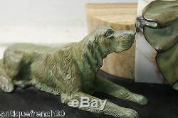 Énorme chryséléphantine Art Déco, femme & chiens, Menneville Georges Maxim
