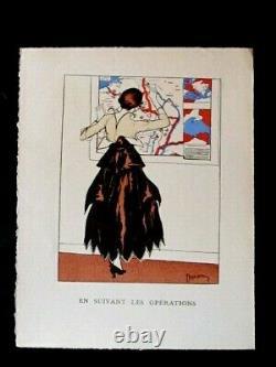 Etienne Drian Rare ensemble de 6 planches La femme pendant la guerre 14/18