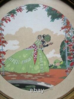 Ettore TITO (1859-1941) Lithographie pochoir signée au crayon femme Art Déco