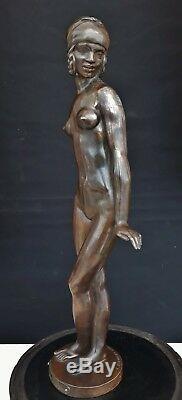 FEMME NUE en BRONZE E. POPINEAU art déco trophé automobile 1938 Dunlop danseuse