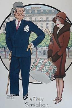 FERNAND COUDERC époque ART DECO peinture TENTATION homme femme mode