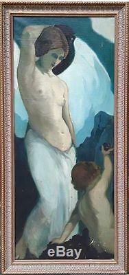 Femme Avec Cruche Et Ange. Huile / Toile. Joaquín Terruella. Espagne. 1920-1930