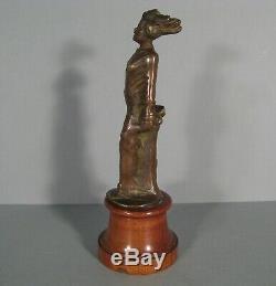 Femme Captive Mascotte Automobile Ancienne Style Art Déco Bronze J. Garnier
