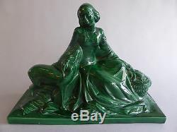 Femme Et Biche Superbe Ceramique Craquelee Art Deco Porcelaine Style Lemanceau