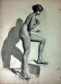 Femme Nue. Fusain Sur Papier. L. Marti Gras Attribué. Espagne. Circa1920