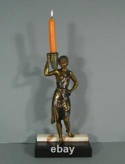 Femme Porteuse D'eau Sculpture Bronze Ancien Style Art Déco Flambeau Danseuse