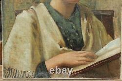 Femme à la lecture, vers 1930, livre, art-déco, portrait