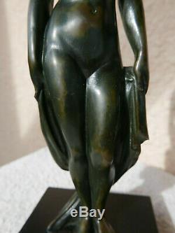 Femme nue Bronze ART DECO 1930 signé LUC 22,5 cm sculpture chiparus le verrier