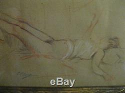 Femme nue aux trois crayons signé Elsig Art Nouveau Art Déco / 1920 1930