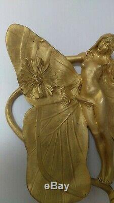 Femme papillon charles korschann /louchet, bronze doré