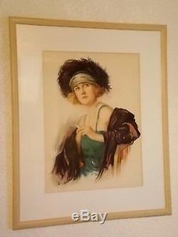 Fernand Toussaint, Jeune Femme a la Cigarette , Grande Gravure Art Déco