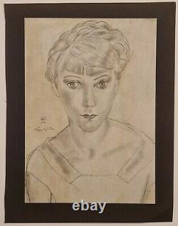 Foujita Jeune femme 1927 Estampe Art Déco Portrait