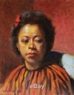G. MOROGE tableau portrait femme noire africaine créole voyage Art Déco Afrique