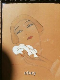 GOUACHE PORTRAIT FEMME ART DECO (KIKI DE MONTPARNASSE) Eric GILL (1882-1940)