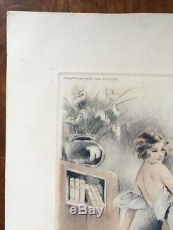 GRAVURE ART DECO signée MEUNIER FEMME élégante 1934 BY CAMILLE LUCAS