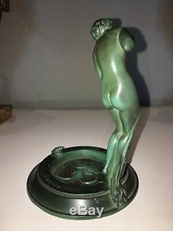 GUERBE. Femme Aux Nénuphars Art Déco idem faguays ou le verrier