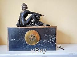 Garniture pendule Art déco marbre femme signée Gapaillard