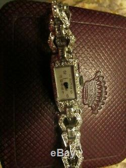 Garrard Montre Dame Art Deco Annee 25/30 Platine Et Diamants Signee Garrard