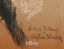 Gaston BLONDEAU dessin pastel portrait gitane jeune femme fille tzigane tableau