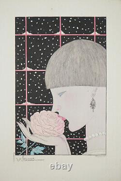 Georges LEPAPE Jeune femme à la rose Gravure originale signée #ART DECO