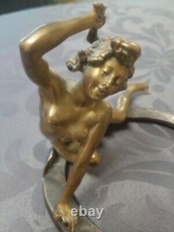 Georges RECIPON (1860-1920) bronze porte bonheur femme -Art déco (Susse frères)
