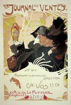 Georges de FEURE Jeune femme et chevalier Lithographie originale signée, 1899