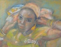 Germaine FOURY tableau dessin pastel femme créole antillaise Guadeloupe Antilles