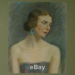 Grand Pastel, Portrait Jeune Femme, Art Déco 1930 tableau