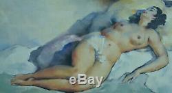 Grand Tableau Ancien Nu Érotique Portrait Femme CESAR VILOT ART DECO HST