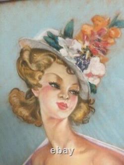Grand Tableau Femme nue cadre Montparnasse dlg Domergue Leliepvre