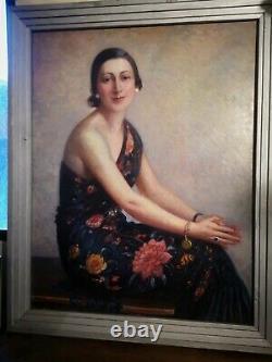 Grand Tableau H/P Portrait de femme élégante signé Pierre Almès (Pays Basque)
