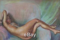 Grand pastel début 20ème Delphin Enjolras femme nue