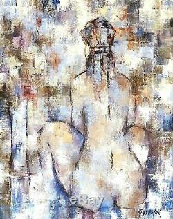 Grand tableau, peinture à l'huile / toile femme assise de dos signé Gastaldi