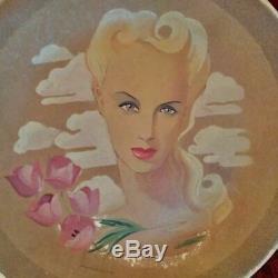 Grande céramique Art Déco Maurice Dard grand plat signé visage femme années 40