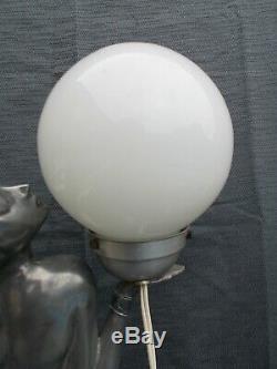 Grande lampe art deco femme nue 76cm vintage sculpture lamp nude woman design