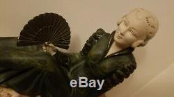 Grande statue sculpture femme métal marbre ART DECO 1930 style leverrier