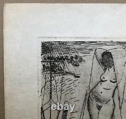 Gravure Ancienne Eau-Forte Anne-Pierre de Kat Belge Portraits Femme Nue Visages